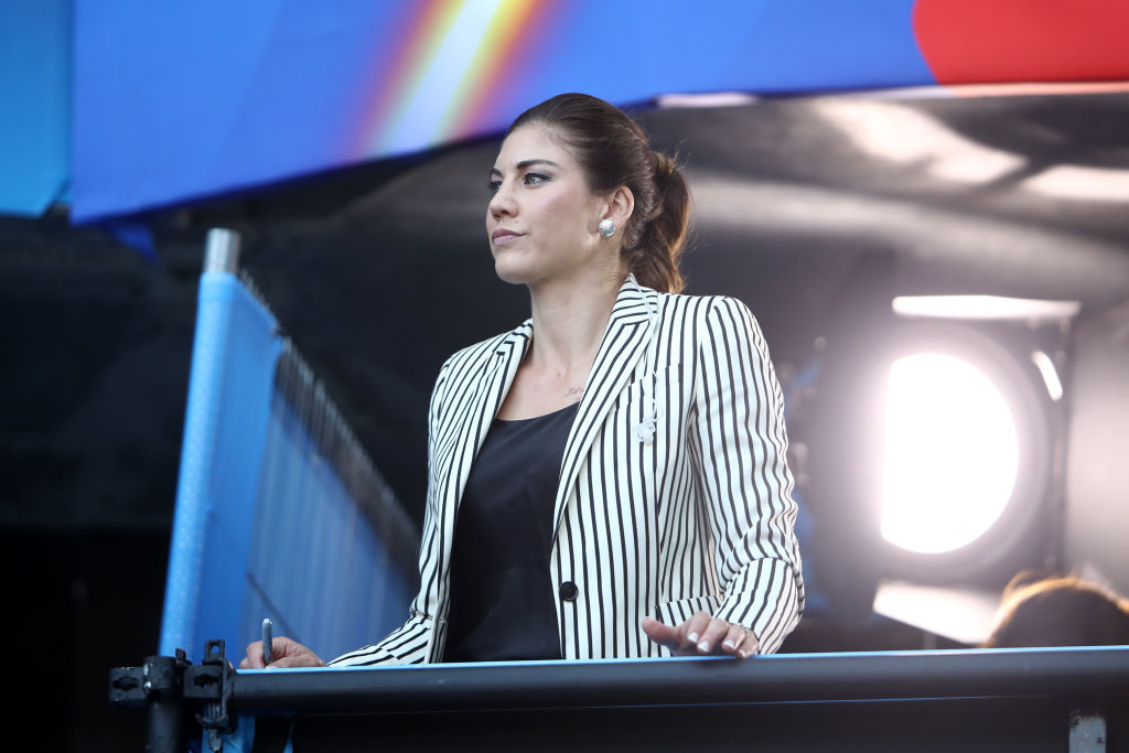 LE HAVRE, FRANCE - JUNE 20: Hope Solo, former USA player looks on during the 2019 FIFA Women's World Cup France group F match between Sweden and USA at Stade Oceane on June 20, 2019 in Le Havre, France. (Photo by Alex Grimm/Getty Images)