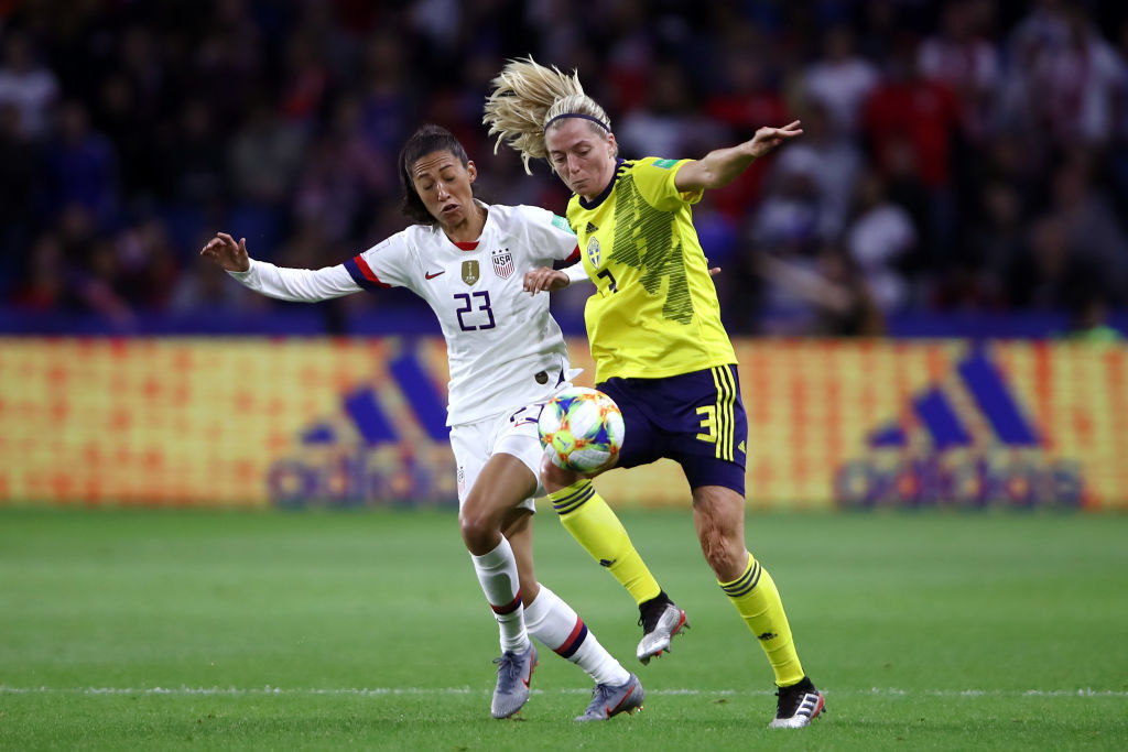 LE HAVRE, FRANCE - JUNE 20: Christen Press of the USA battles for possession with Linda Sembrant of Sweden during the 2019 FIFA Women's World Cup France group F match between Sweden and USA at Stade Oceane on June 20, 2019 in Le Havre, France. (Photo by Alex Grimm/Getty Images)