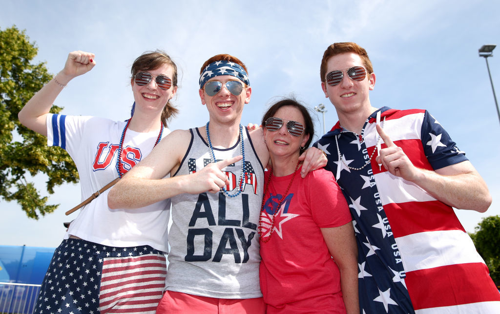 REIMS, FRANCE - JUNE 24: USA fans pose for a photo outside the stadium prior to the 2019 FIFA Women's World Cup France Round Of 16 match between Spain and USA at Stade Auguste Delaune on June 24, 2019 in Reims, France. (Photo by Robert Cianflone/Getty Images)