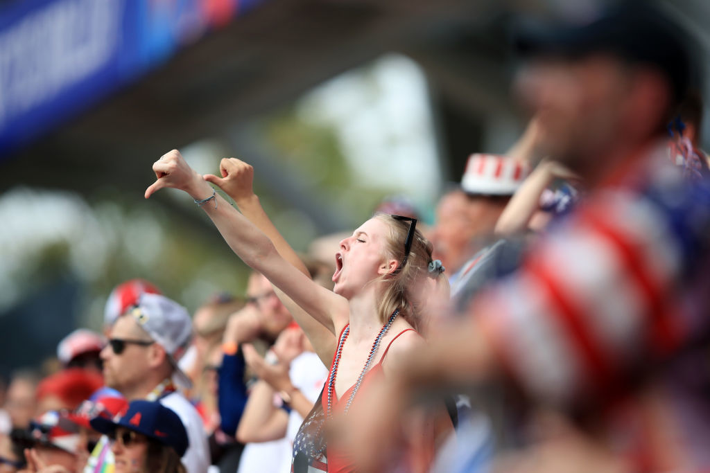 REIMS, FRANCE - JUNE 24: Fans react during the 2019 FIFA Women's World Cup France Round Of 16 match between Spain and USA at Stade Auguste Delaune on June 24, 2019 in Reims, France. (Photo by Marc Atkins/Getty Images)