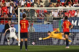 REIMS, FRANCE - JUNE 24: Megan Rapinoe of the USA scores her team's second goal from the penalty spot during the 2019 FIFA Women's World Cup France Round Of 16 match between Spain and USA at Stade Auguste Delaune on June 24, 2019 in Reims, France. (Photo by Robert Cianflone/Getty Images)
