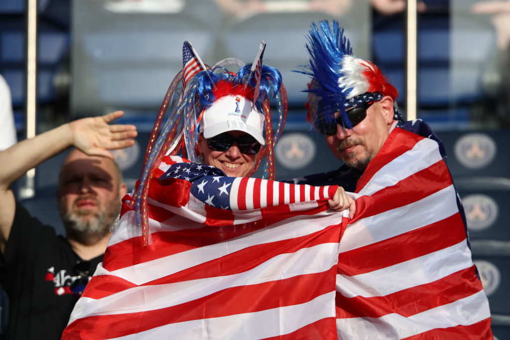 PARIS, FRANCE - JUNE 28:  USA fans look on prior to the 2019 FIFA Women's World Cup France Quarter Final match between France and USA at Parc des Princes on June 28, 2019 in Paris, France. (Photo by Alex Grimm/Getty Images)