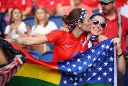 PARIS, FRANCE - JUNE 28:  Fans of USA show their support prior to the 2019 FIFA Women's World Cup France Quarter Final match between France and USA at Parc des Princes on June 28, 2019 in Paris, France. (Photo by Richard Heathcote/Getty Images)