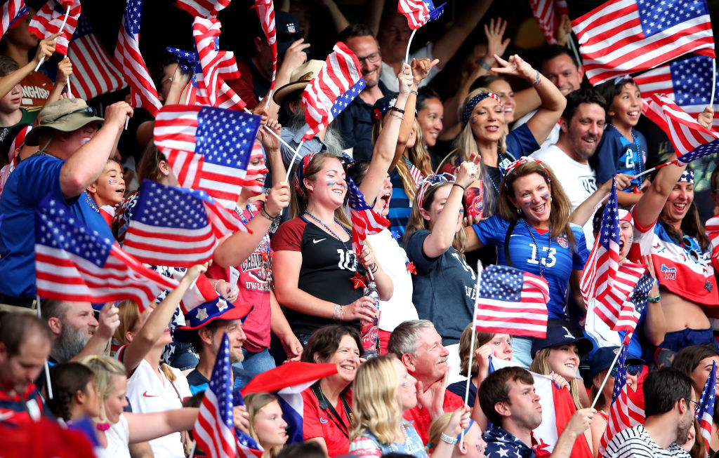 PARIS, FRANCE - JUNE 28:  Fans of USA show their support during the 2019 FIFA Women's World Cup France Quarter Final match between France and USA at Parc des Princes on June 28, 2019 in Paris, France. (Photo by Alex Grimm/Getty Images)