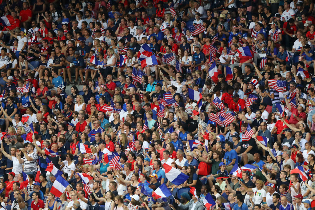 PARIS, FRANCE - JUNE 28:  Fans show their support during the 2019 FIFA Women's World Cup France Quarter Final match between France and USA at Parc des Princes on June 28, 2019 in Paris, France. (Photo by Richard Heathcote/Getty Images)