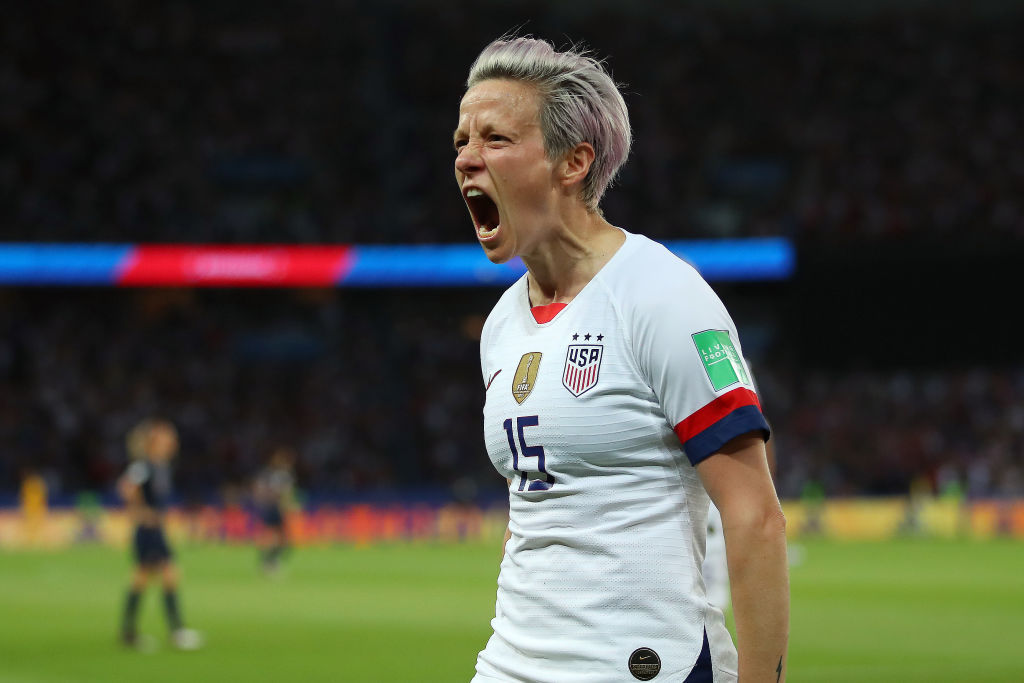 PARIS, FRANCE - JUNE 28:  Megan Rapinoe of the USA celebrates after scoring her team's second goal during the 2019 FIFA Women's World Cup France Quarter Final match between France and USA at Parc des Princes on June 28, 2019 in Paris, France. (Photo by Richard Heathcote/Getty Images)