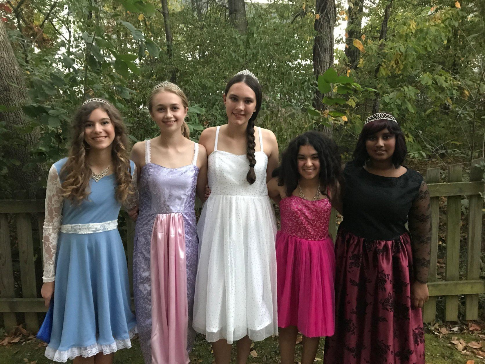 During Christina's sophomore year of high school, she made these dresses for herself and four friends. Each dress was based on a princess theme and tailored to match each girl's personality. (Courtesy Nicole Mellott)