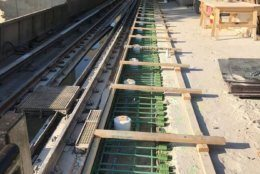 At Huntington Station, demolition of the inbound and outbound platform edge is complete, and the formwork and rebar are being installed. (Courtesy WMATA)