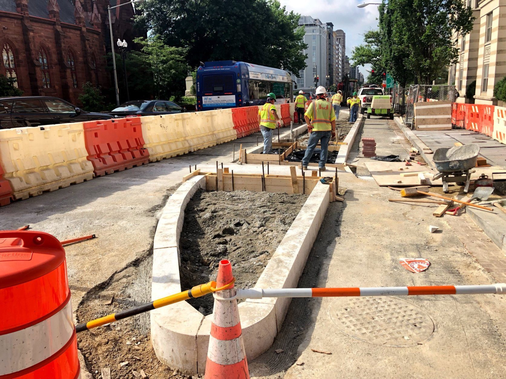 The first bus island in the 14th St. NW Streetscape project is being created at the intersection with N St. (WTOP/Neal Augenstein)