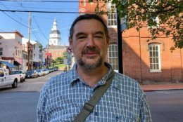 John Schumaker has lived in Annapolis for 10 years. Maryland Avenue, he said, has the feel of a small English village where everyone knows everyone else, yet people aren't intrusive. (WTOP/Kate Ryan)