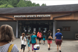 Fans stream into the Wheaton Sports Center in Montgomery County, Maryland, to watch the U.S. Women's National Soccer team play Chile. (WTOP/Liz Anderson)