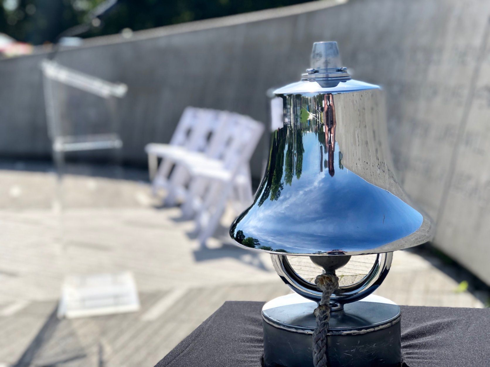 The bell that was struck each time the names of those killed in the 2009 Metro crash were read aloud at a ceremony marking the 10 year anniversary of the transit system's deadliest crash.(WTOP/Kate Ryan)