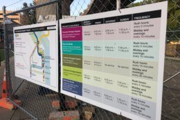 A chart detailing the changes that have been made to the shuttle routes between Huntington and Pentagon Stations. (WTOP/Melissa Howell)