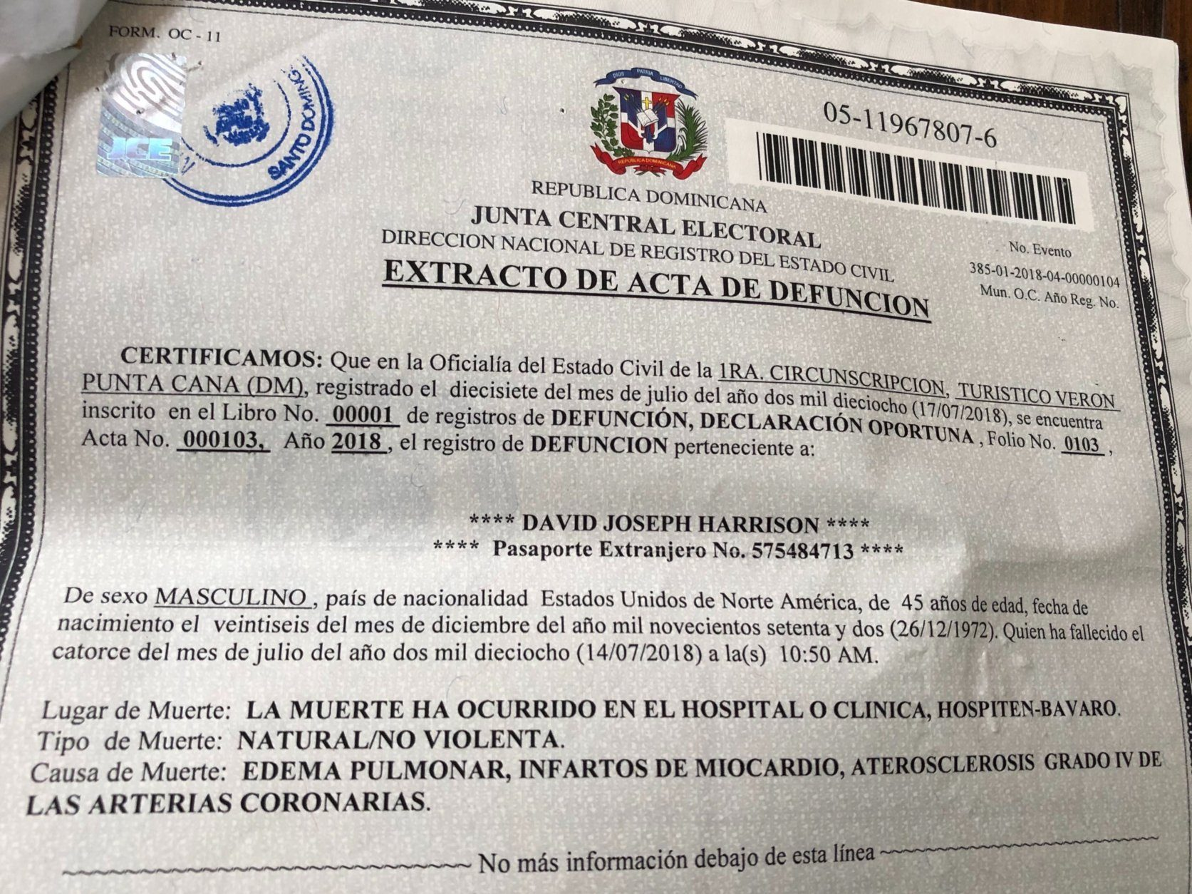 Harrison's death certificate from the Dominican Republic. (WTOP/Michelle Basch)