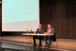 The meeting at John F. Kennedy High School in Silver Spring, Maryland, was hosted by county council member Will Jawando and County Executive Mark Elrich. (WTOP/Mike Murillo)