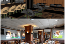 Joe Theismann's Restaurant in Old Town Alexandria is getting a renovation. Above are top-to-bottom comparisons of the new look (top, rendering) and the old look (bottom). (Courtesy Alexandria Restaurant Partners)