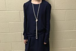 """Christina's friend Julia was the lead actress in their school play """"Singin' in the Rain."""" She made this dress with a light, flowy crepe fabric. Her low-waisted dress followed the popular styles of the 1920s. (Courtesy Christina Mellott)"""