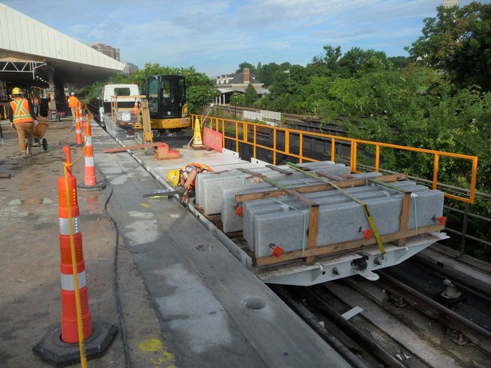 Crews repair the King Street Station platform during the long summer shutdown. (Courtesy WMATA)