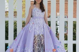 """For the """"Stuck at Prom"""" scholarship contest, Christina Mellott, 17, made this dress out of duct tape. The dress can transform into three different looks by changing and removing the overskirt. It took 80 hours and 36 rolls of duct tape. (Courtesy, Nicole Mellott)"""