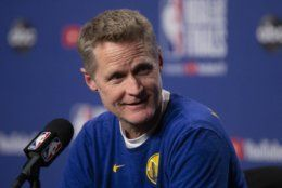 Golden State Warriors head coach Steve Kerr speaks to reporters during a news conference prior to practice in Toronto on Sunday June 9, 2019, ahead of Monday's game five of the NBA basketball Finals against the Toronto Raptors. (Chris Young/The Canadian Press via AP)