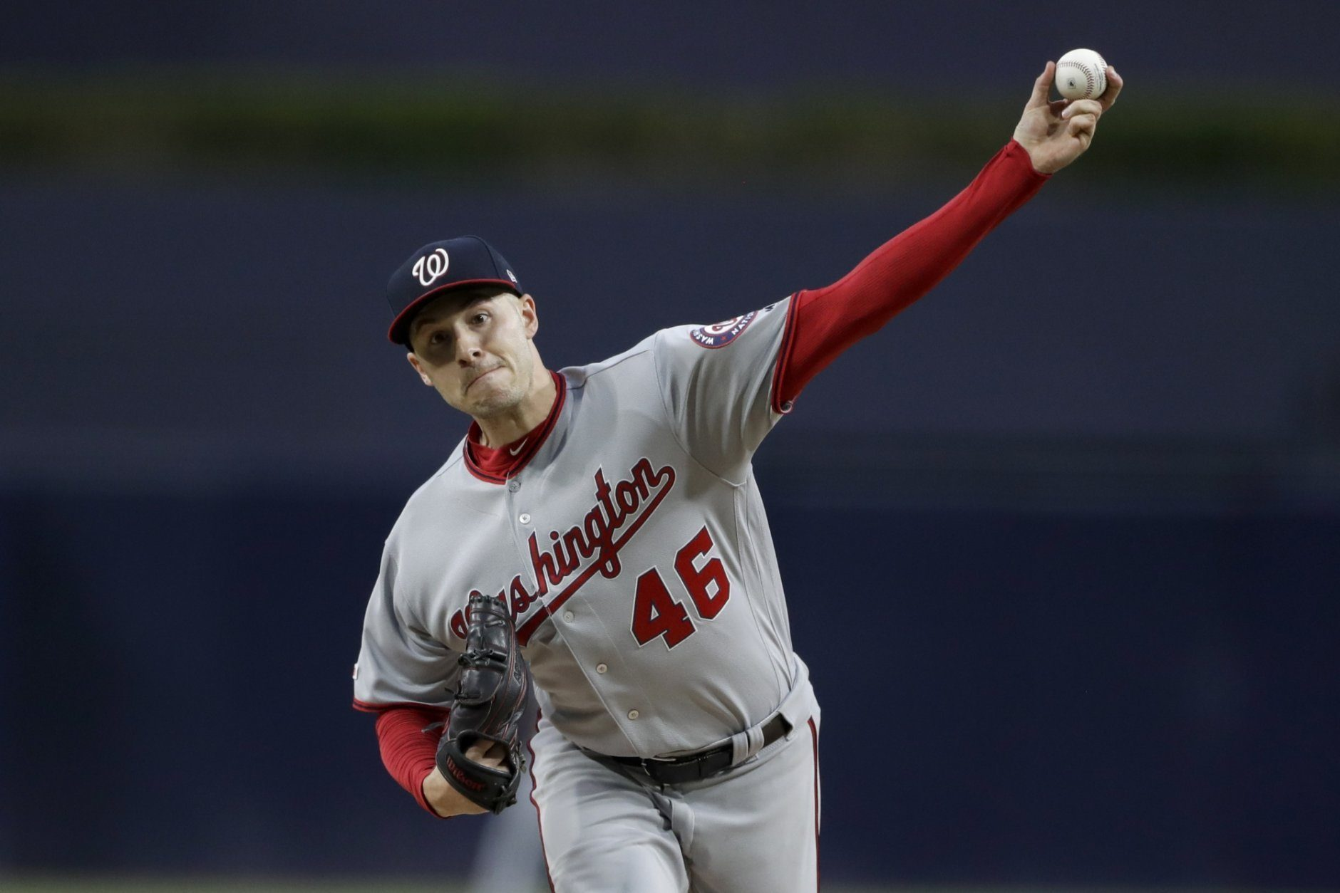 Washington Nationals starting pitcher Patrick Corbin works against a San Diego Padres batter during the first inning of a baseball game Thursday, June 6, 2019, in San Diego. (AP Photo/Gregory Bull)