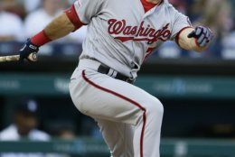 Washington Nationals' Adam Eaton singles to drive in Victor Robles against the Detroit Tigers during the fifth inning of a baseball game Friday, June 28, 2019, in Detroit. (AP Photo/Duane Burleson)