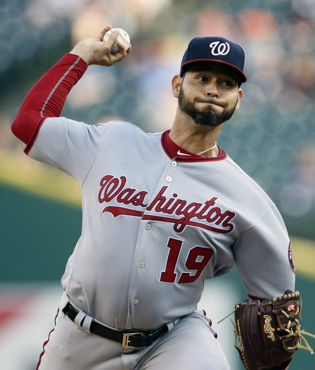 Washington Nationals' Anibal Sanchez (19) pitches against the Detroit Tigers during the second inning of a baseball game, Friday, June 28, 2019, in Detroit. (AP Photo/Duane Burleson)