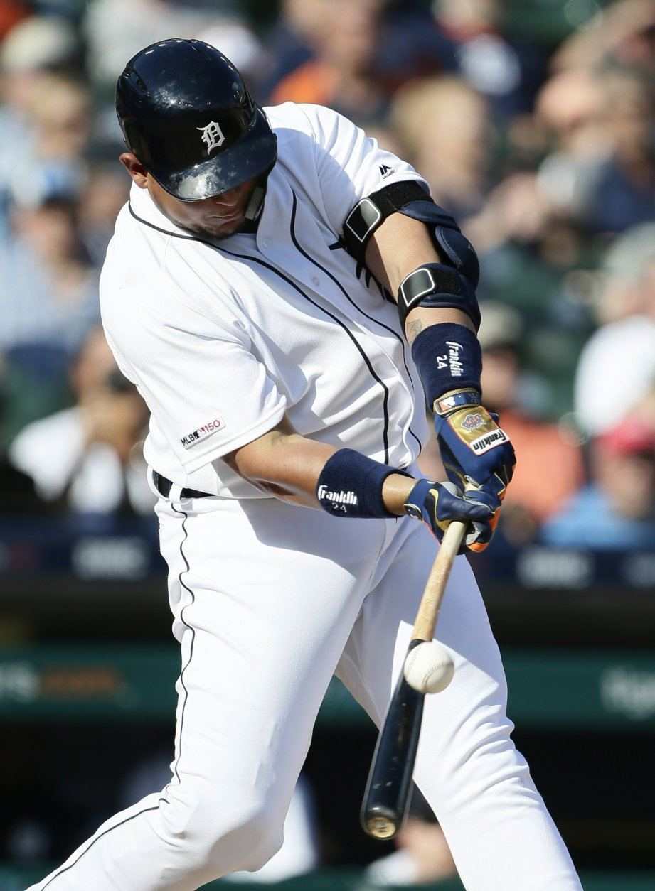 Detroit Tigers' Miguel Cabrera hits a two-run single against the Washington Nationals during the fifth inning of a baseball game Saturday, June 29, 2019, in Detroit. (AP Photo/Duane Burleson)