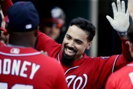 Washington Nationals' Anthony Rendon celebrates his solo home run against the Detroit Tigers during the fourth inning of a baseball game Saturday, June 29, 2019, in Detroit. (AP Photo/Duane Burleson)