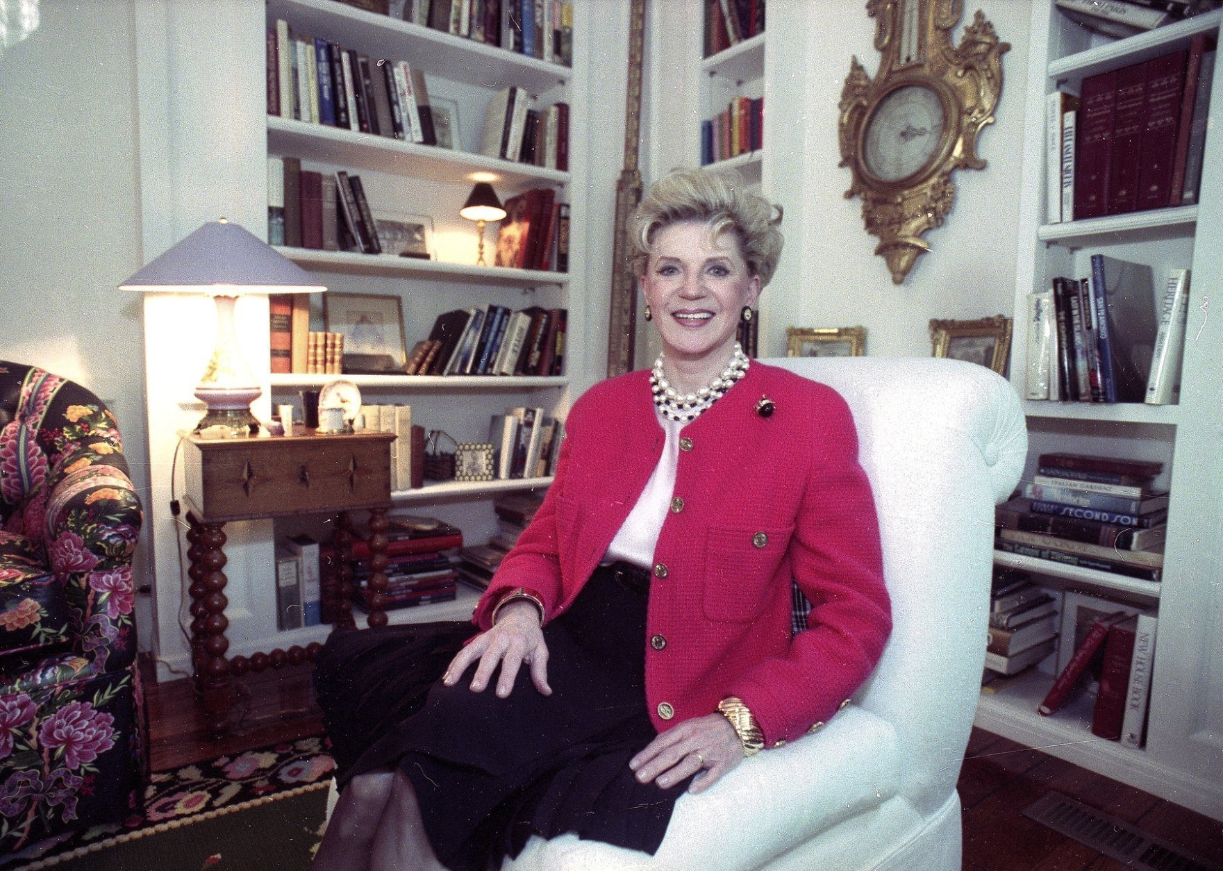FILE - Judith Krantz, poses in an undated file photo during an interview at her home in the Bel Air section of Los Angeles, Ca. Krantz died Saturday, June 22, 2019 in her Bel Air home od natural causes, said her son Tony Krantz. She was 91. (Deidre Hamill/AP Photo, File)