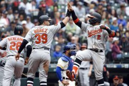 Baltimore Orioles' Jonathan Villar, right, exchanges a high-five with Renato Nunez (39) after hitting a three-run home run to score Nunez during the fourth inning of a baseball game against the Seattle Mariners, Saturday, June 22, 2019, in Seattle. (AP Photo/Joe Nicholson)