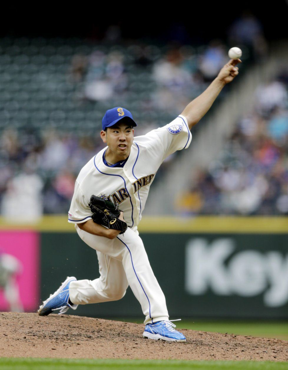 Seattle Mariners starting pitcher Yusei Kikuchi works against the Baltimore Orioles during the fifth inning of a baseball game, Sunday, June 23, 2019, in Seattle. (AP Photo/John Froschauer)