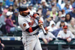 Baltimore Orioles' Jonathan Villar hits a three-run home run against the Seattle Mariners during the fourth inning of a baseball game Saturday, June 22, 2019, in Seattle. (AP Photo/Joe Nicholson)