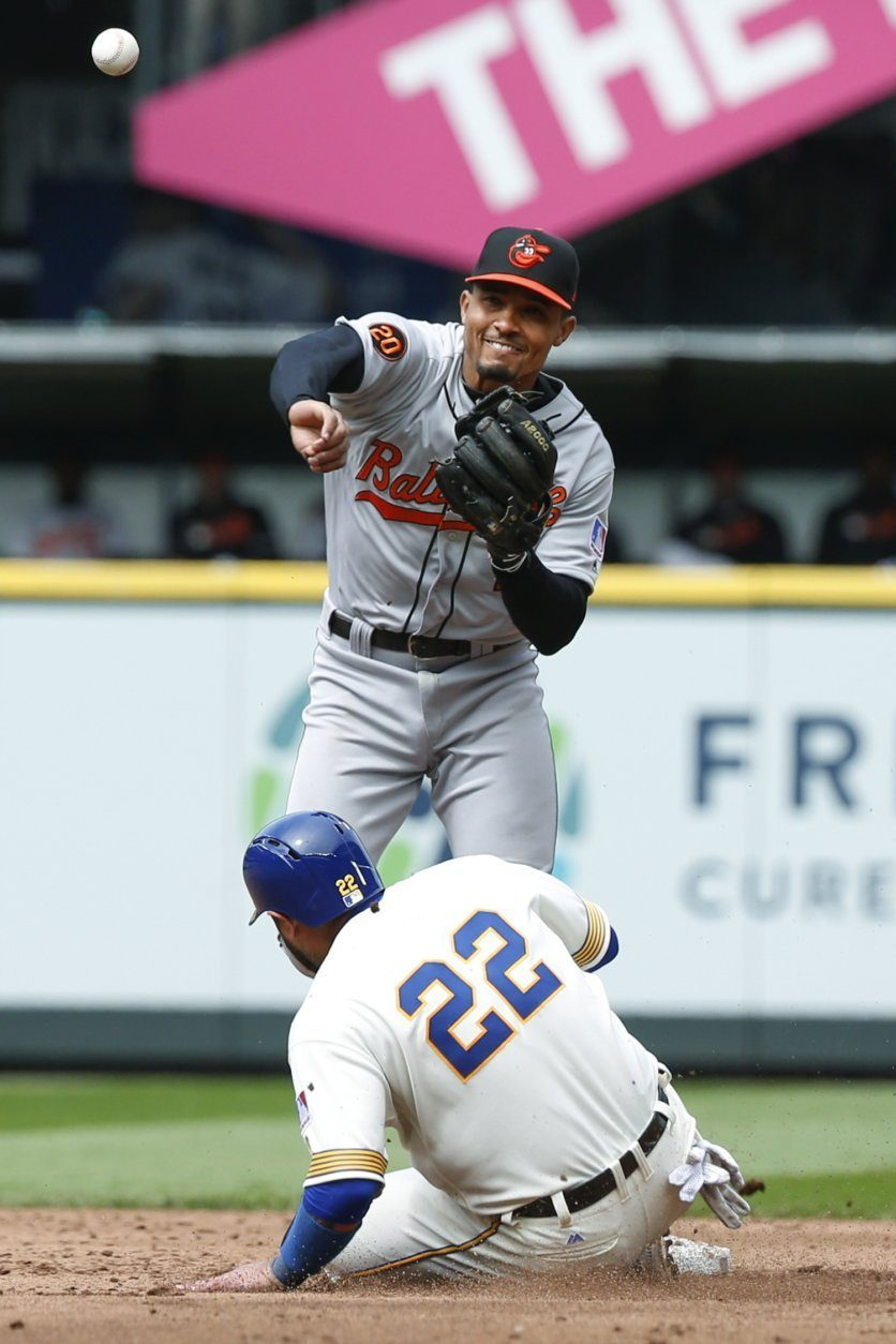 Baltimore Orioles shortstop Richie Martin throws to first after forcing out Seattle Mariners' Omar Narvaez (22) on a grounder hit by Kyle Seager during the sixth inning of a baseball game Saturday, June 22, 2019, in Seattle. Seager was safe at first. (AP Photo/Joe Nicholson)