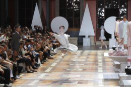 A dancer performs at the Thom Browne mens Spring-Summer 2020 fashion collection presented in Paris, Saturday, June 22 2019. (AP Photo/Michel Euler)