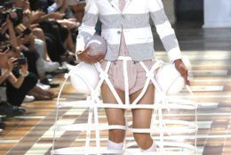 A model wears a creation for the Thom Browne mens Spring-Summer 2020 fashion collection presented in Paris, Saturday, June 22 2019. (AP Photo/Michel Euler)