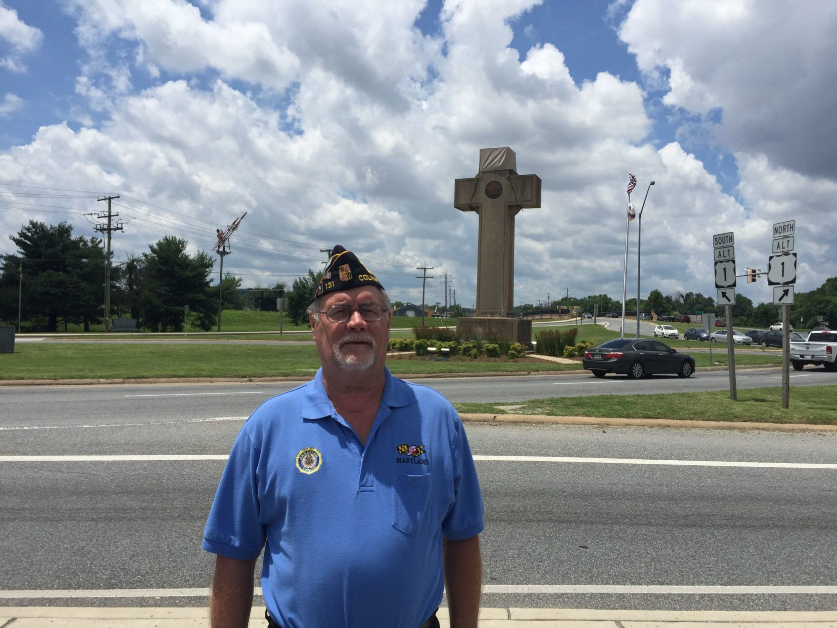 Phillip Holdsclaw in front of the Peace Cross in Prince George's County, Maryland. (WTOP/John Domen)