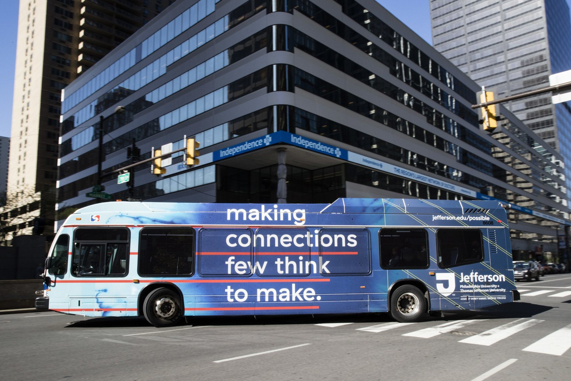 A Southeastern Pennsylvania Transportation Authority bus (SEPTA) turns onto Market Street in Philadelphia, Wednesday, May 2, 2018. Lawyers for an investigative reporting organization are suing Philadelphia's main transit agency after it refused to run ads about the group's stories on racial disparities in mortgage lending. (AP Photo/Matt Rourke)