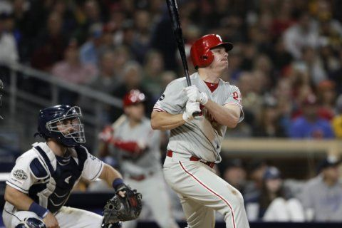 Bruce hits slam, 2-run HR to lift Phillies over Padres 9-6