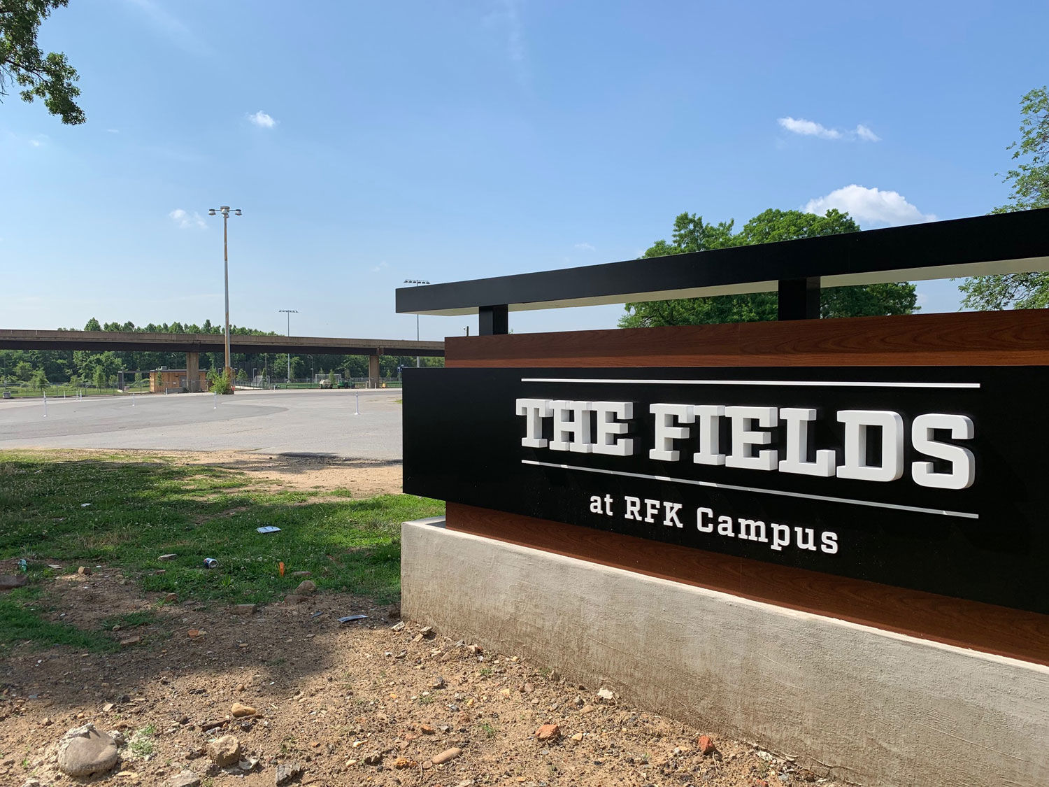 The Fields at RFK Campus, the first of a planned, five-part redevelopment, open Saturday. (WTOP/Noah Frank)