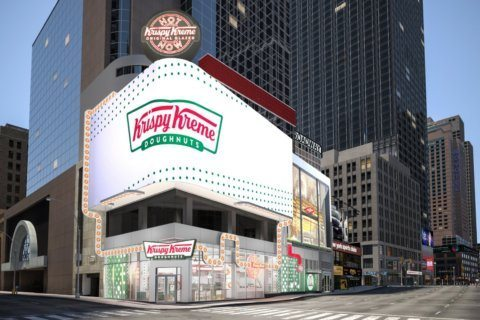 A Krispy Kreme in Times Square will have stadium-style seats and a glaze waterfall