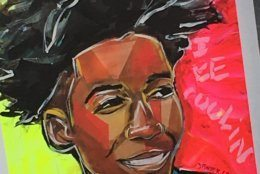 A portrait of 15-year-old Maurice Scott that was brought to his vigil June 1, 2019. (WTOP/Liz Anderson)