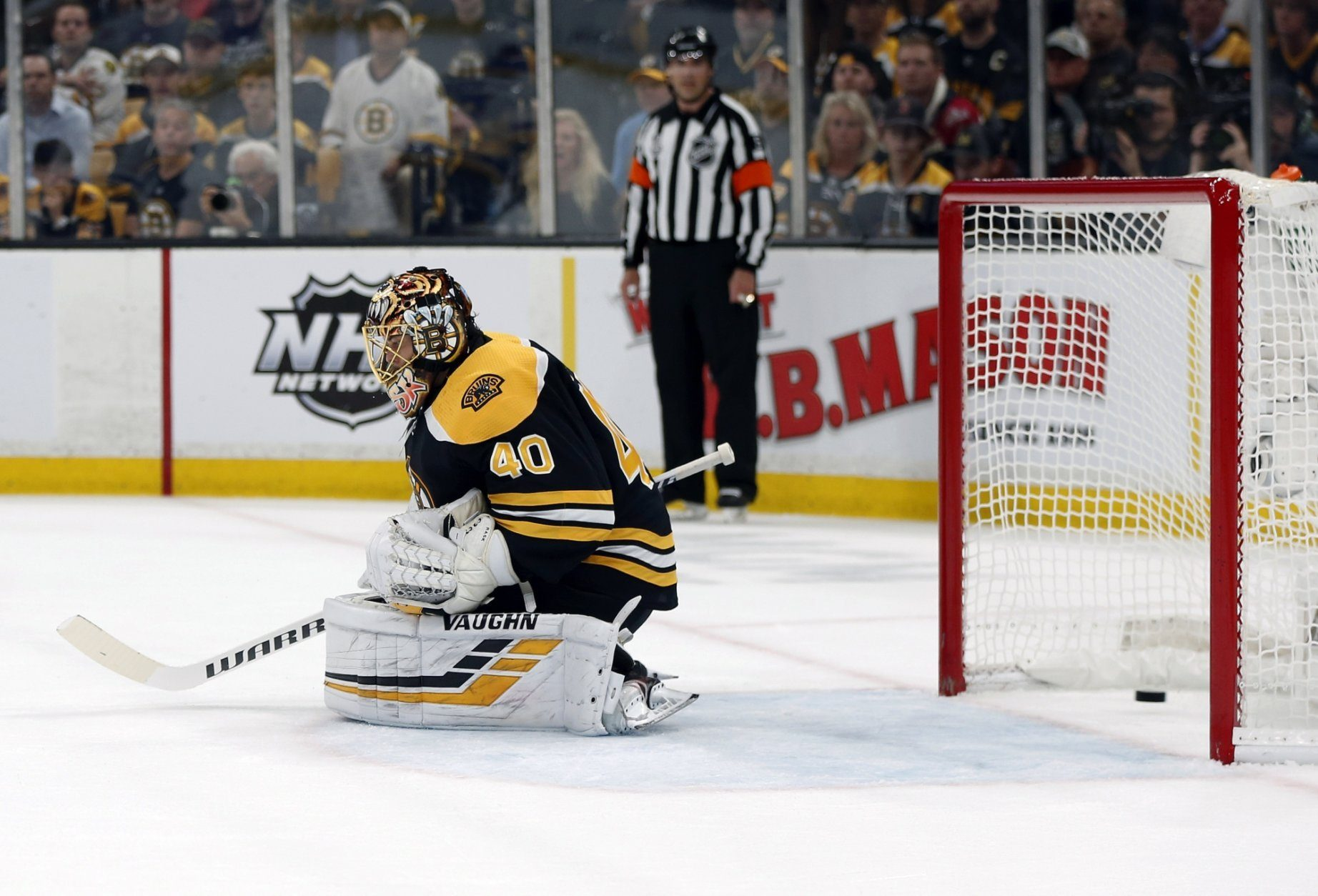 A shot by St. Louis Blues' Ryan O'Reilly settles in the net behind Boston Bruins goaltender Tuukka Rask, of Finland, for the first goal during the first period in Game 7 of the NHL hockey Stanley Cup Final, Wednesday, June 12, 2019, in Boston. (AP Photo/Michael Dwyer)