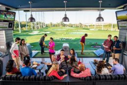 The 65,000-square-foot, three-level TopGolf National Harbor is at 6400 Clipper Way in Oxon Hill, Maryland. (Courtesy Topgolf)