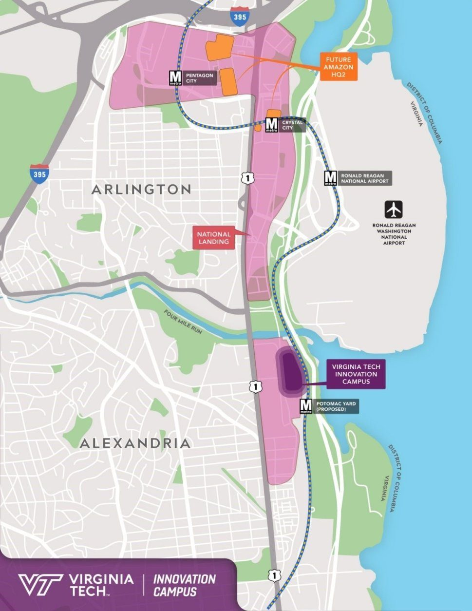 The location of the new Virginia Tech campus in Alexandria. (Courtesy Virginia Tech)