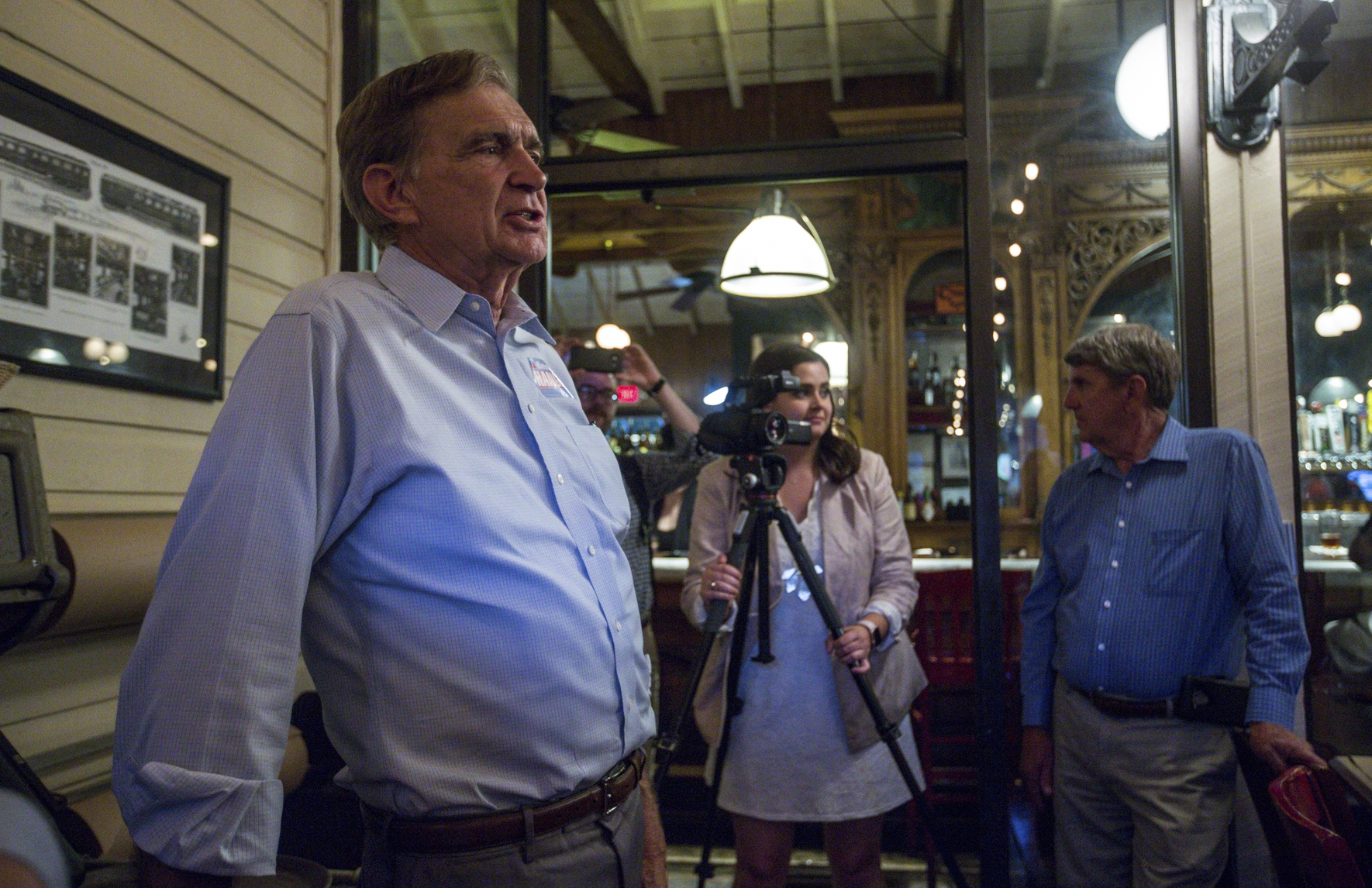 Virginia 24th District senator Emmett Hanger, R-Mount Solon, gives a victory speech during a party at The Depot Grille in Staunton, Va., Tuesday, June 11, 2019. Hanger won the primary election against challenger Tina Freitas. (Daniel Lin/Daily News-Record via AP)