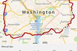 Wardian's route around the Beltway. (Courtesy Michael Wardian)