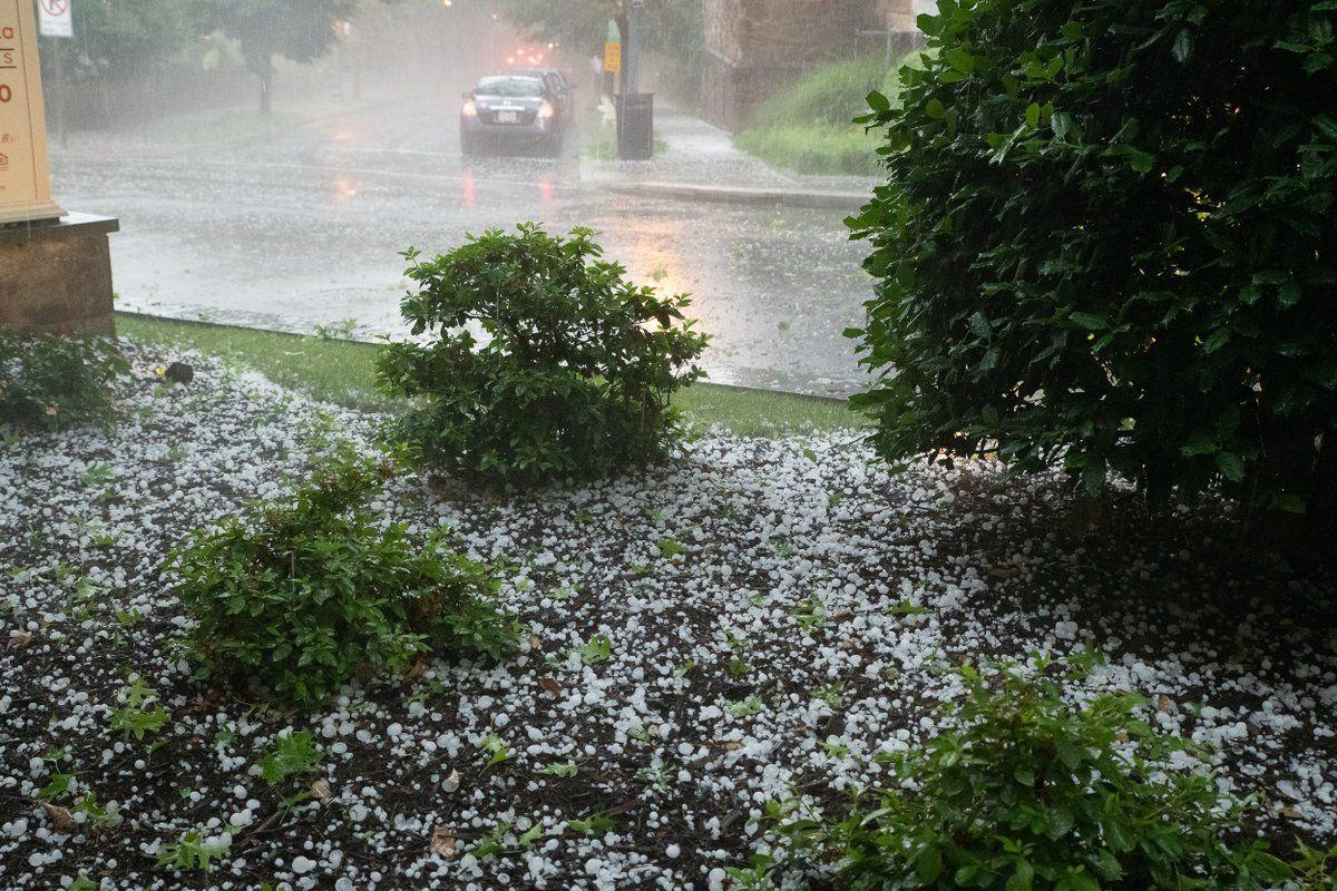 Hail hits D.C. on Sunday, June 2. (WTOP/Alejandro Alvarez)
