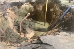 WSSC says repairs are underway after a water main break in Montgomery County, Maryland, on June 6, 2019. (Courtesy WSSC)