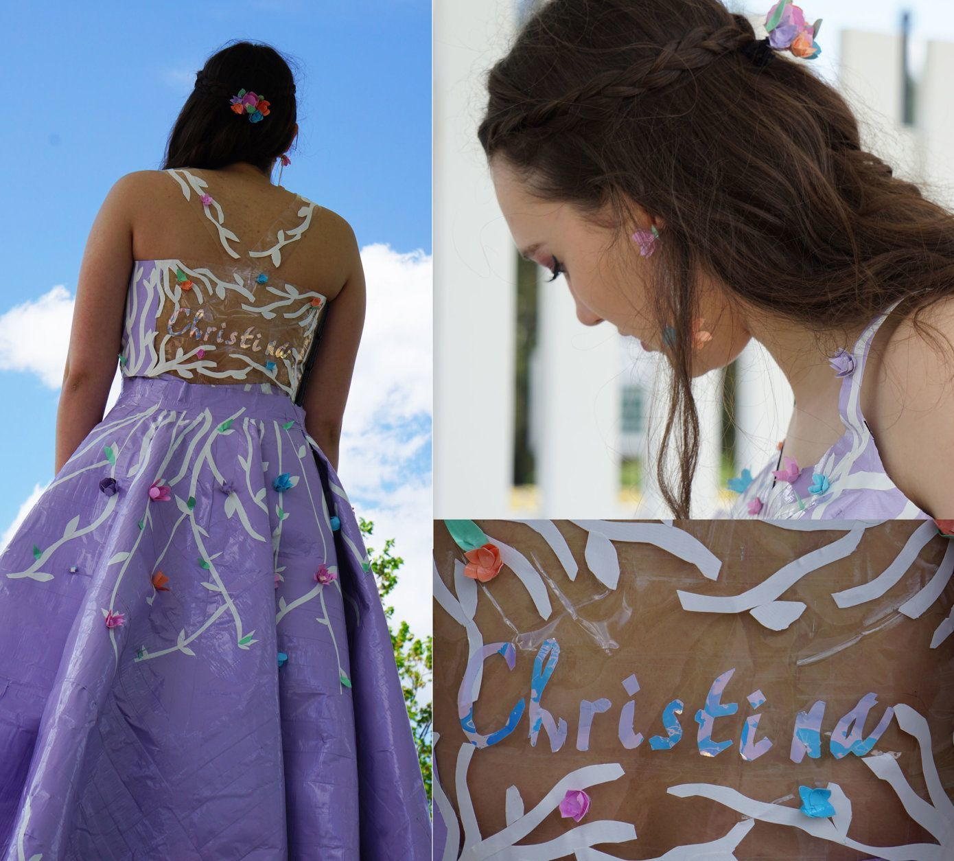 In addition to the dress, Christina made matching accessories, including tape flower earrings and headgear.  The back bodice of the dress had a transparent board that had her name (hand cut) on it with iridescent tape.  (Courtesy Christina Mellott)